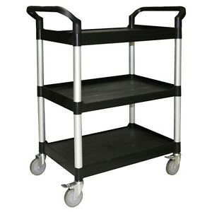 Thunder Group Plbc3316b Bus Cart 3 Tier Black 33 1 2 X 16 1 8 X 37
