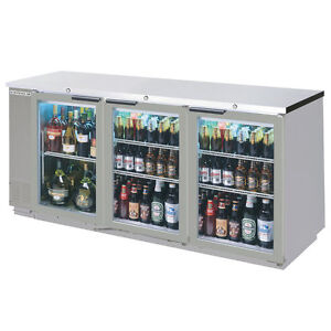 Beverage air 79 Three section Stainless Steel Back Bar Glass Door Cooler
