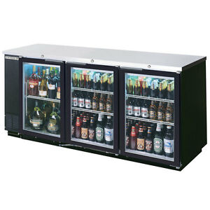 Beverage air 72in Glass Door Back bar Refrigerator W Black Exterior