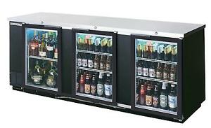 Beverage air 94 Three section Glass Door Bar Cooler W Black Exterior