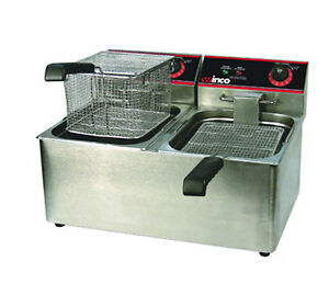 Winco Eft 32 32 Lb Electric Countertop Double Well Deep Fryer