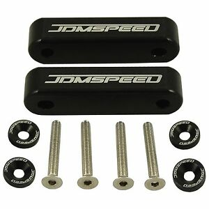 Black Jdm Hood Spacer Risers Set For 90 01 Acura Integra 88 00 Honda Civic Crx