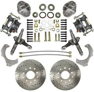 74 78 Mustang Ii Mbm Front 11 Drilled Slotted Disc Brake Kit Stock Spindles