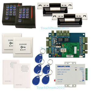 2 Door Entry Access Control Systems Kit Rfid Reader strike Lock power Supply