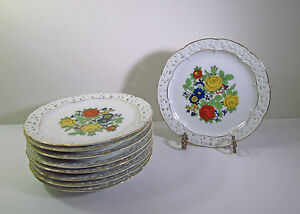 Set 8 Early 1900s Germany Pierced Reticulated Rim Porcelain Dessert Plates