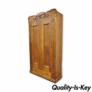 82 Antique American Victorian Golden Oak Wood Clothing Wardrobe Dresser Cabinet