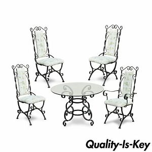 Vintage Hollywood Regency Scrolling Wrought Iron Dining Set Round Table 4 Chairs
