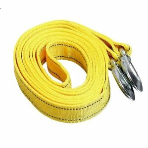 10ft Heavy Duty Tow Strap With Hooks 6 600 Lb Capacity 2 X 10 Yellow Rope