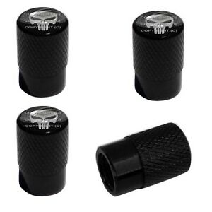 4 Black Billet Aluminum Knurled Tire Air Valve Stem Caps Punisher Skull 3wy