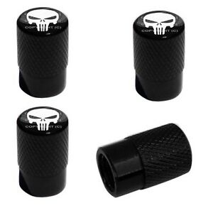 4 Black Billet Aluminum Knurled Tire Air Valve Stem Caps Punisher Skull He9