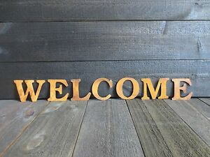 Primitive Rusty Letters Spelling Welcome Rustic Country Rusted Tin Crafts Sign
