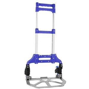 Blue 40 Aluminum Folding Hand Truck Trolley Rolling Cart Holds Up To 150 Lbs