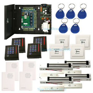 4 Door Proximity Card Access Control System Wired Doorbell rfid Keypad Reader