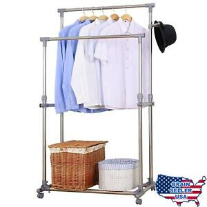 Ollieroo Stainless Steel Garment Rack Adjustable Telescopic Rolling Clothing Rac