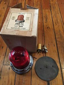 Nos Griffin 360 Red Glass Flashing Emergency Light fire Fighter willys Jeep