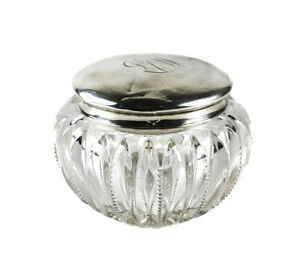 Large Webster Sterling Silver Lidded Cut Crystal Vanity Jar Monogrammed