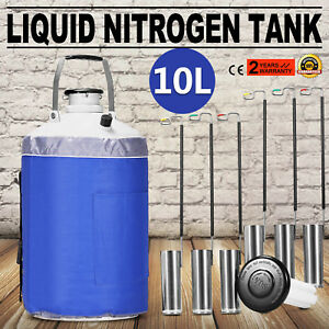 10l Liquid Nitrogen Container Ln2 Tank Dewar Cryogenic Refrigeration Specimens
