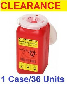 Clearance Case 36 Phlebotomy 1 4 Quart Red Base Funnel Lid Sharps Container