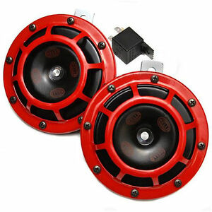Hella 003399801 Supertone Universal 12v High Tone Low Tone Twin Horn Kit Red