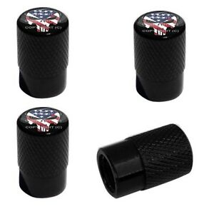 4 Black Billet Aluminum Knurled Tire Air Valve Stem Caps Punisher Skull Wn3