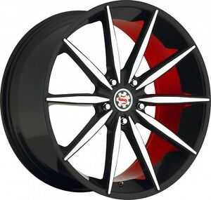 22 Inch Scarlet Monroe Sw 2 Staggered set Of 4 5x120 13 Black Red Machined