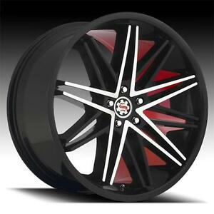 22 Inch Scarlet Sw 1 Staggered set Of 4 5x120 13 Black Red Machined