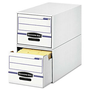 Bankers Box Stor drawer File Drawer Storage Box Legal White blue 6 carton