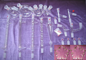 Kemtech America Advanced Organic Chemistry Lab Glassware Kit 24 40 Metal Clips