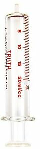 Truth 01 10 01 08 Borosilicate Glass Slip Tip Reusable Syringe 20 Ml Capacity