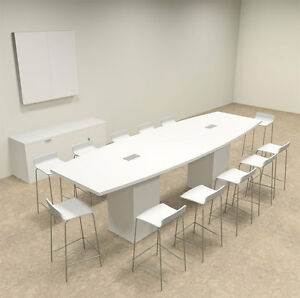 Boat Shape Counter Height 12 Feet Conference Table of con ct7