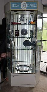 Large Lenox Display Case 4 Shelf And Base Lighted Display Case