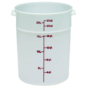 Cambro Plastic Storage Round Food Container White 22 Qt 1 pack