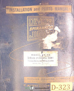 Devlieg K Spiromatic Jigmil Installation And Parts Manual Year 1971