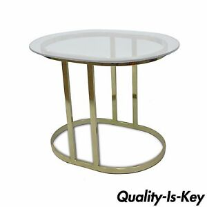 Vintage Hollywood Regency Oval Brass Plated Metal Glass Accent Side Lamp Table