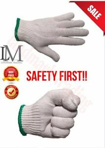 Wholesale 300 Pairs Whlte Poly Cotton Strlng Knlt Work Safety Gloves