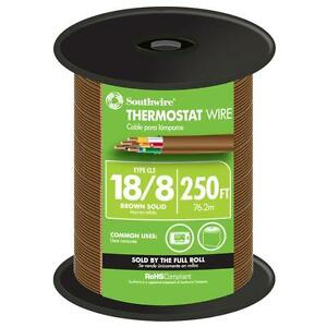 250 Ft Thermostat Wire 18 8 Southwire Cable 150 Volt Rated Solid Copper Brown