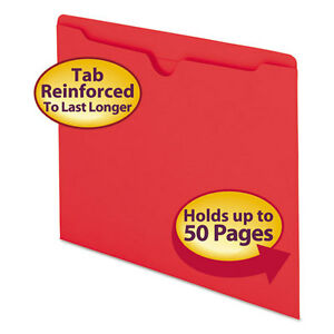 Smead Colored File Jackets W reinforced 2 ply Tab Letter 11pt Red 100 box