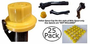 25pk Blitz Yellow Spout Cap Fits Self venting Gas Can Spout Match Kolpin Rotopax