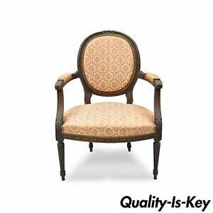 Antique French Louis Xvi Style Bow Carved Walnut Fauteuil Fireside Arm Chair Vtg