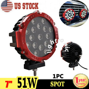1x 7inch 51w 5100lm Round Spot Led Work Light Driving Fog Lamp 4x4 Offroad Truck