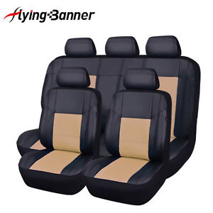 Flying Banner Pu Leather Seat Covers Set 11 Pcs Universal Fit Car Suv Van Beige