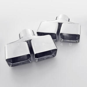 3 Inlet Quad Square Dual Wall Stainless Steel Exhaust Tips For Dodge Challenger