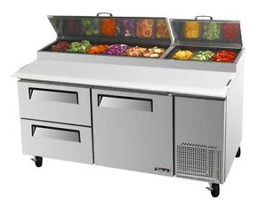 Turbo Air 67 Pizza Prep Table Cooler 9 Pans 2 Drawers 1 Door Tpr 67sd d2