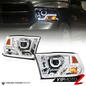For 09 18 Dodge Ram 1500 2500 3500 Halo Angel Eye Led Strip Projector Headlight