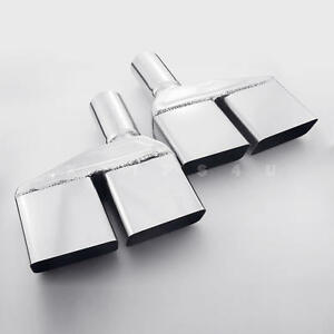 Pair Quad Square Out 2 In Stainless Exhaust Tips For 70 71 72 73 74 Challenger