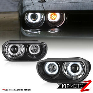for Xenon Hid Model 2008 2014 Dodge Challenger Ccfl Halo Black Headlights Pair