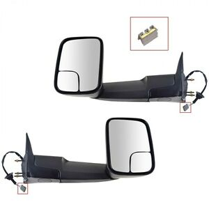For 94 97 Dodge Ram 1500 2500 3500 Towing Power Brackets Mirrors Side Tow Pair