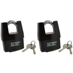 2pc Shrouded Shackle Laminated Steel Padlock Brass Key Ball Bearing Lock Black