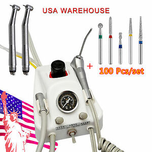 Dental Portable 4 Hole Air Turbine 2 High Speed Handpiece 100 Diamond Burs