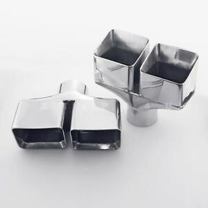 Pair 2 5 Id Dual Square Double Wall Stainless Exhaust Tips For Dodge Challenger